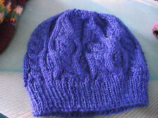 HAND KNITTED BLUE CABLE KNIT HAT - NEW