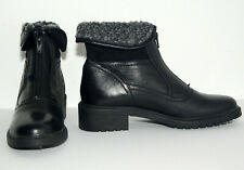 Belle Donne Black Genuine Leather Faux Fur Lined Women's Ankle Boots Size 40