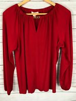 Michael Kors Red Long Sleeve Gold Chain Stretchy Peasant Top Blouse Medium M