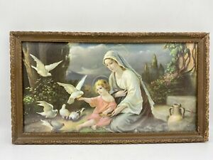 Antique Framed Giovanni Religious Print Mary Jesus Doves Early 20th Century NICE