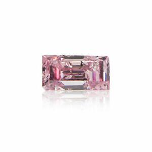 Pink Diamond Baguette Cut 0 .09 Ct Rare GIA Certified Loose Natural Fancy Color