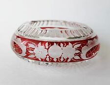 Gorgeous Bohemian Ruby Red Cut To Clear Glass or Crystal Ashtray
