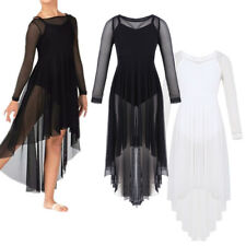 Girl Kid Sheer Mesh Lyrical Dance Dress Party Praise Robe Dresses Costume 6-14Y