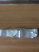 """Silver Plated 925 Women Classic Heart Mesh adjustable Bracelet Band fits 6-8"""""""
