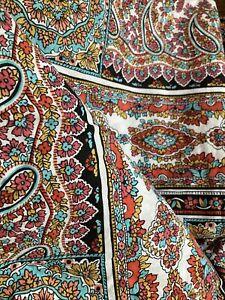 Pottery Barn Dorm Colorful Floral Flower Paisley Twin Duvet Cotton Cover EUC