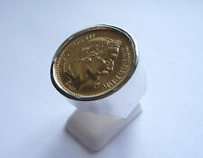 Chevalière argent ronde pièce or 20 Francs Napoléon tête laurée
