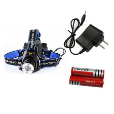 New 2000 Lm Headlamp CREE XM-L XML T6 LED Headlight 2X18650+Charger For Battery