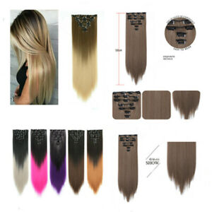 Full Head Hair Extension Clip in Ombre Hairpiece extension like human hairpiece