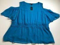 New Lane Bryant Women's Short Sleeve Blouse Top 28 Plus Solid Blue Cold Shoulder