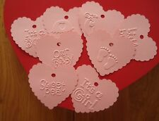 10 Pink Gift Tags Baby Pink Heart Embossed Bomboniere Favour Baby Shower