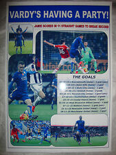 Jamie Vardy scores in 11 games for Leicester City - 2015 - souvenir print