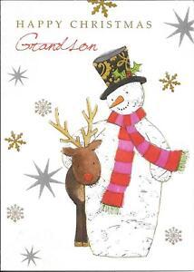 CHRISTMAS CARD T0 GRANDSON - SNOWMAN, REINDEER, SNOWFLAKES
