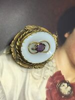 Stunning Antique Victorian Pinchbeck Chalcedony Amethyst Paste Brooch