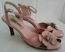 Steve Madden Girlie Womens Pink Embossed Leather Heel Peep Toe Sandal Shoe 7 B