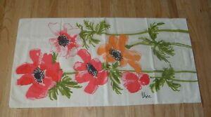 Vtg 70s Vera Neumann 2 KING Pillowcases  Anemone Flower Burlington Pink Orange