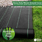 Woven Heavy Duty Ground Cover   Weed Membrane 1m, 2m, 3m, 4m, 5m Widths  Pegs