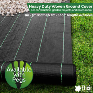 Woven Heavy Duty Ground Cover | Weed Membrane 1m, 2m, 3m, 4m, 5m Widths  Pegs