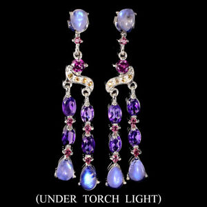 Unheated Pear Moonstone Amethyst Rhodolite Sapphire 925 Sterling Silver Earrings