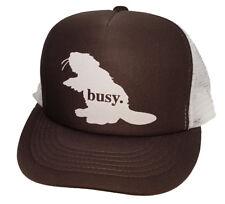 Busy Beaver Brown Snapback Mesh Trucker Hat Cap Worker