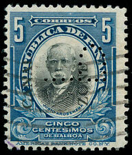 """momen: Canal Zone Stamps CZSG #48.A Used """"P"""" Perfin VF APS Cert"""