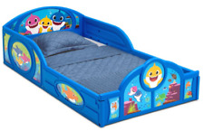 Baby Shark Plastic Sleep and Play Toddler Bed with Attached Guardrails by Delta