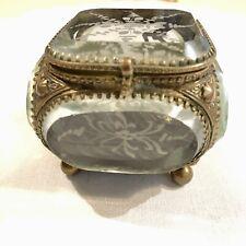 French Antique Ormolu Jewelry Trinket Vanity Box Casket Etched Beveled Glass