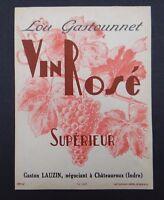 Etiquette LOU GASTONNET Vin Rosé GASTON LAUZIN Châteauroux french label