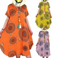 Plus Size Women Summer Floral Tunic Dress Kaftan Ladies Beach Casual Sundress