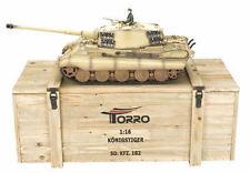 Torro 1/16 RC GERMAN KING TIGER IR CARRO ARMATO DESERTO 2.4ghz metallo 360 scatola in legno