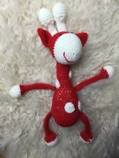 Knitted Red Giraffe Handmade Soft Toy for newborn photography