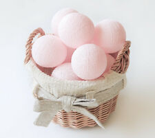 SLB279 Pastel Pink Cotton Ball String Lights - Bedroom Wedding Fairy Party Gift