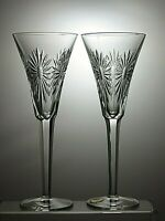 """Waterford Crystal 2 Champagne Flutes From the Millennium Series """"Health"""""""