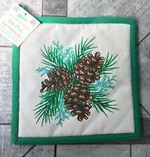 "Pine Cones & Branch Pot Holder 8""x8"" 100% cotton Paine's tree needles hot pad"