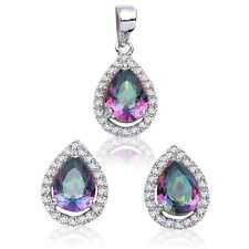 Rainbow Topaz Drop Pear Simulated Diamond Sterling Silver Earring & Pendant Set
