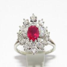 Ring mit ca.1,00ct Rubin und ca. 3,10ct TW-vvs/vs Navette-Diamant 18K Weißgold