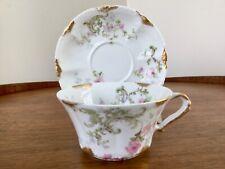 Vintage Haviland Limoges France Cup & Saucer Pink Florals Gilt Gold Trim