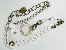Vintage Mod 1960's Gas Bijoux White Acrylic Metal Brass Links Flowers Chain Belt