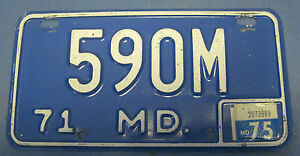 1975 Maryland Motorcycle license plate