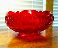 "Mosser Glass Red 8 3/4"" Master Inverted Thistle Berry Bowl Excellent Condition"