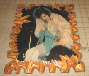 """Vintage ELVIS PRESLEY 9"""" x 12"""" Lacquered on Jagged Wood Picture - Las Vegas??"""