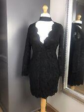 AX Paris Black Choker Long Sleeved Dress Sz 14 Mini Bodycon Christmas Night Out