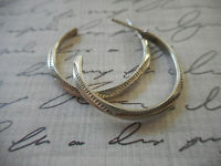 "Vintage Sterling  Silver Stamped Design Southwest 1"" Hoop Earrings  23-36"