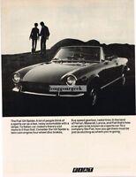 1970 Fiat 124 Spider Vtg Print Ad