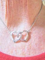Authentic Vintage 1950's Double Heart Silver Tone Pendant/Necklace