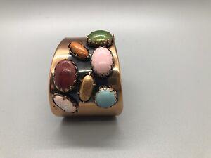 vintage MID-CENTURY Modern MATISSE WIDE COPPER CUFF Bracelet Multi Color Stones