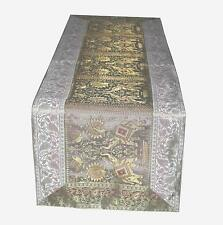 "Indian Silk Blend Elephant Brocade Table Runner Luxury Table Cloth 16X60"" Decor"