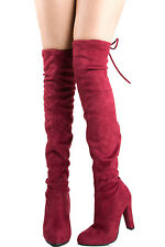 Women Pull On Over The Knee High Heel Boot Vegan Suede Drawstring Tie Lace Up US