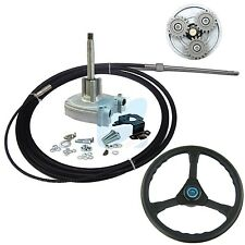 12FT Planetary Gear Outboard Marine Steering Helm With Boat Steering Cable Wheel