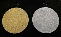 """HUGE Vintage Retro Disco Glittery 3"""" Circles Disc Earrings Gold & Silver"""