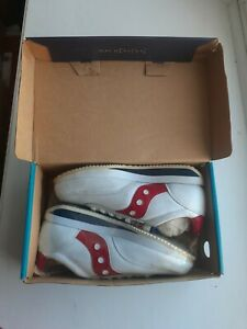 SAUCONY HORNET RED WHITE NAVY LEATHER TENNIS SHOES, SIZE 4 YOUTH VINTAGE